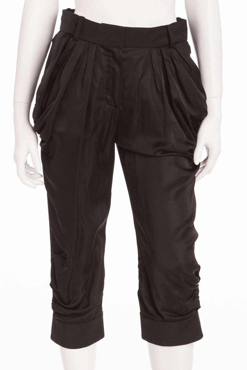 Louis Vuitton - Black Satin Front Capri Pants - FR 38