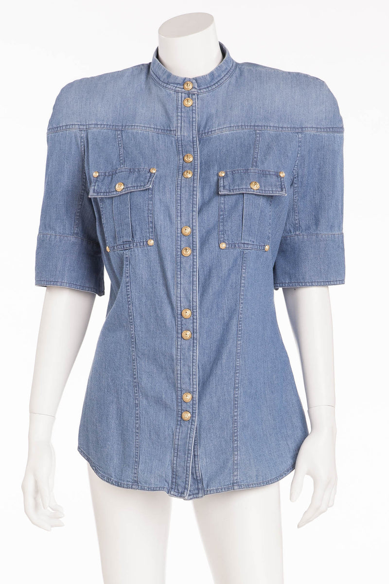 Balmain - Short Sleeve Denim Shirt Gold Button Snaps NWT - FR 40