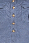 Balmain  - Light Blue Linen Tank Top Gold Buttons - FR 42