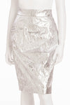 Chanel - New with Tags Leather Crinkled Silver Pencil Skirt - FR 40