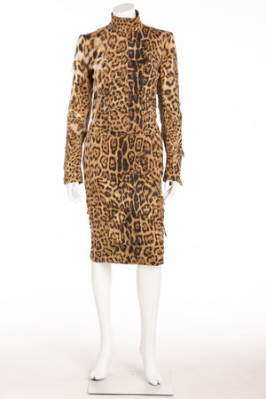 Roberto Cavalli - As Seen on 2001 Runway Collection - 2PC Ripped Leopard Jacket + Pencil Skirt - S