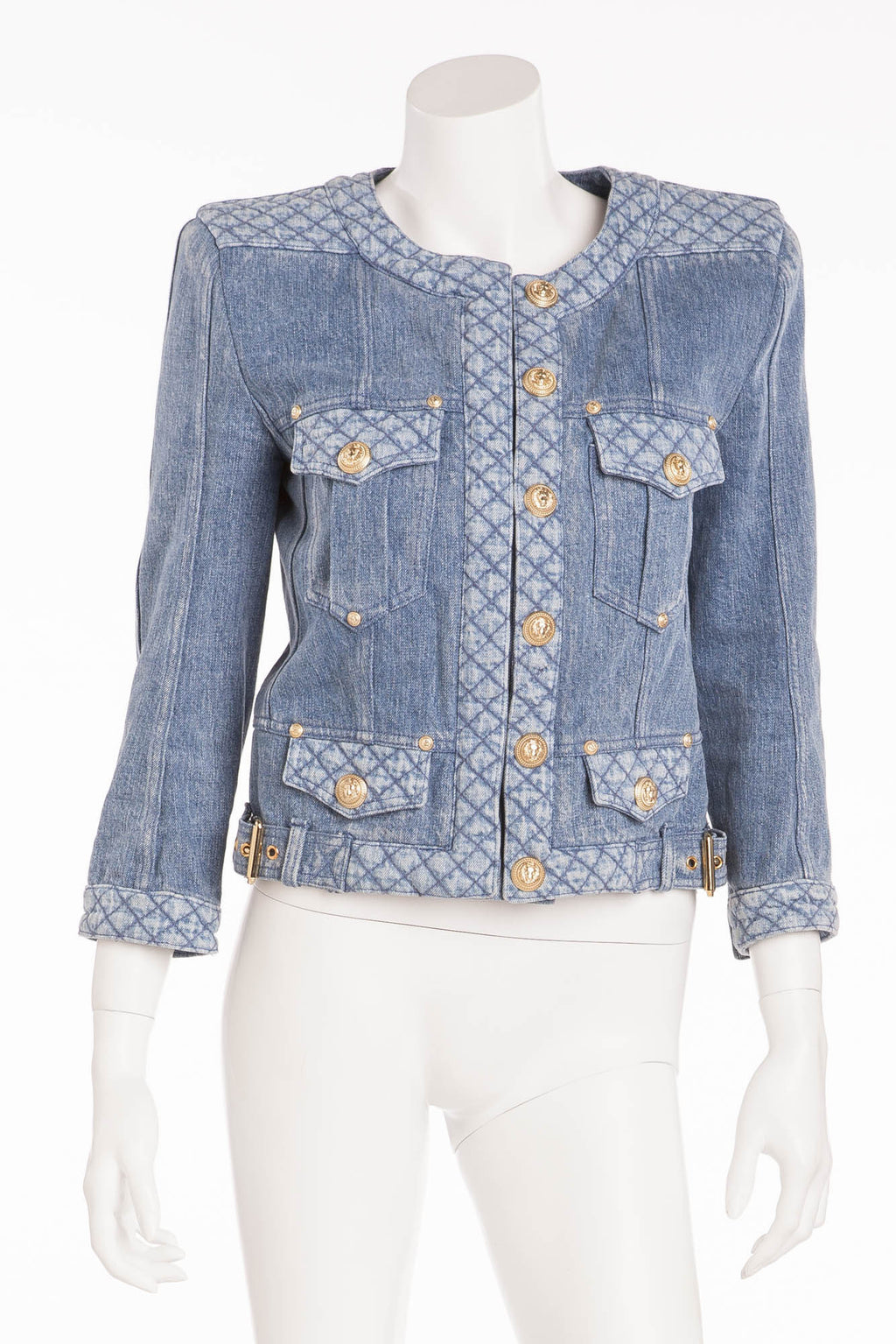 Balmain - Denim Jean Quilted Trim Jacket with Gold Snap Buttons - FR 40