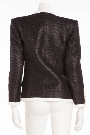 Balmain - Black Blazer White Trim Gold Buttons - FR 40