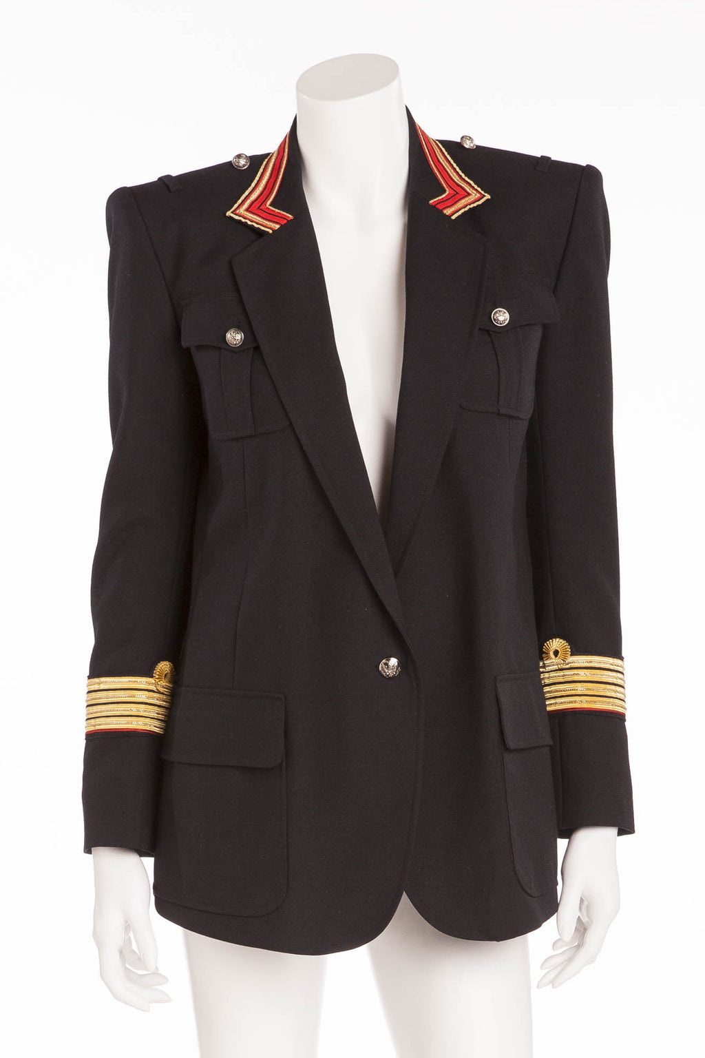 Balmain - Black Blazer Gold/Red Trim Silver Buttons - FR 40