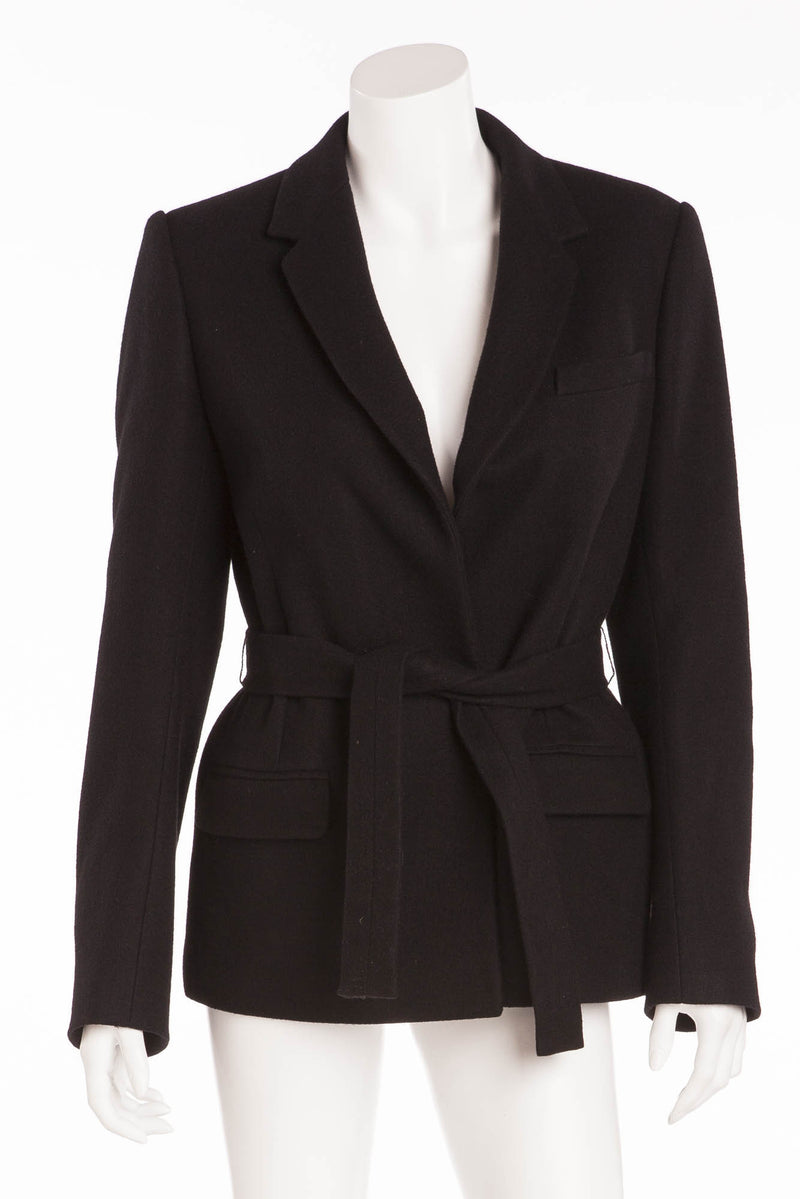 Balmain - Belted Black Wool/Cashmere Jacket - FR 40