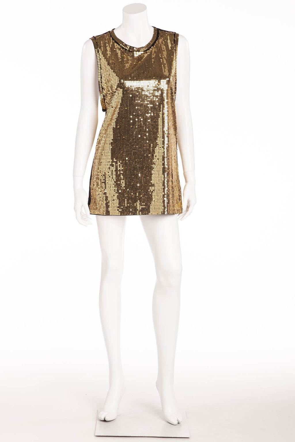 Balmain - Gold Sequin Sleeveless Tank Top - FR 40