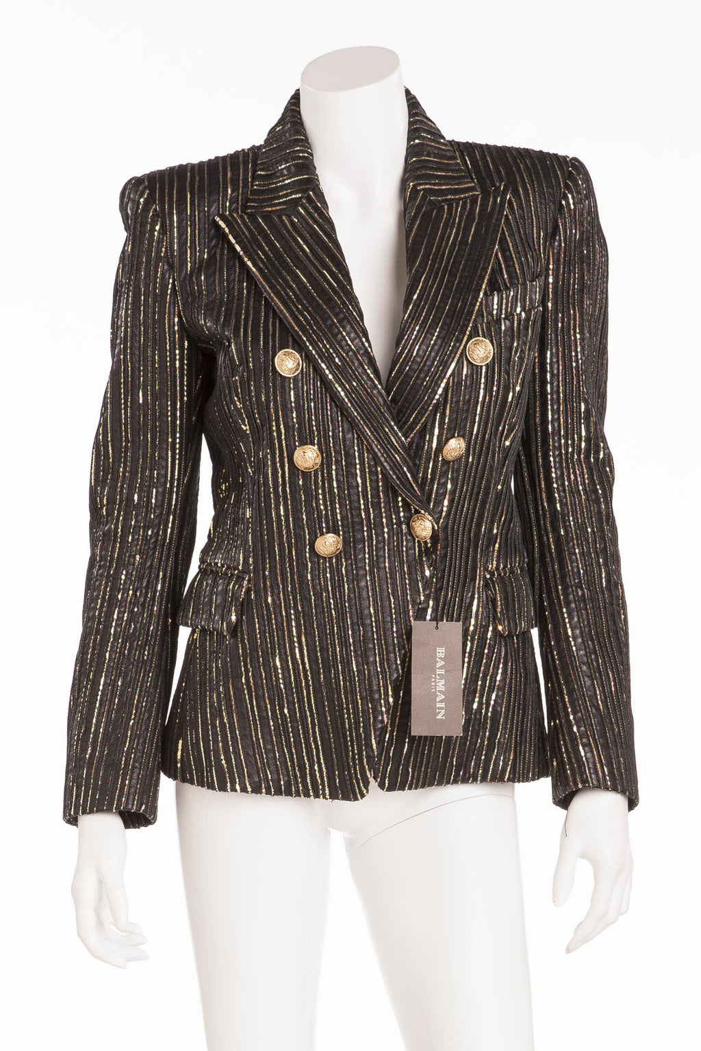Balmain - NWT Black and Gold Leather Blazer Gold Buttons - FR 40