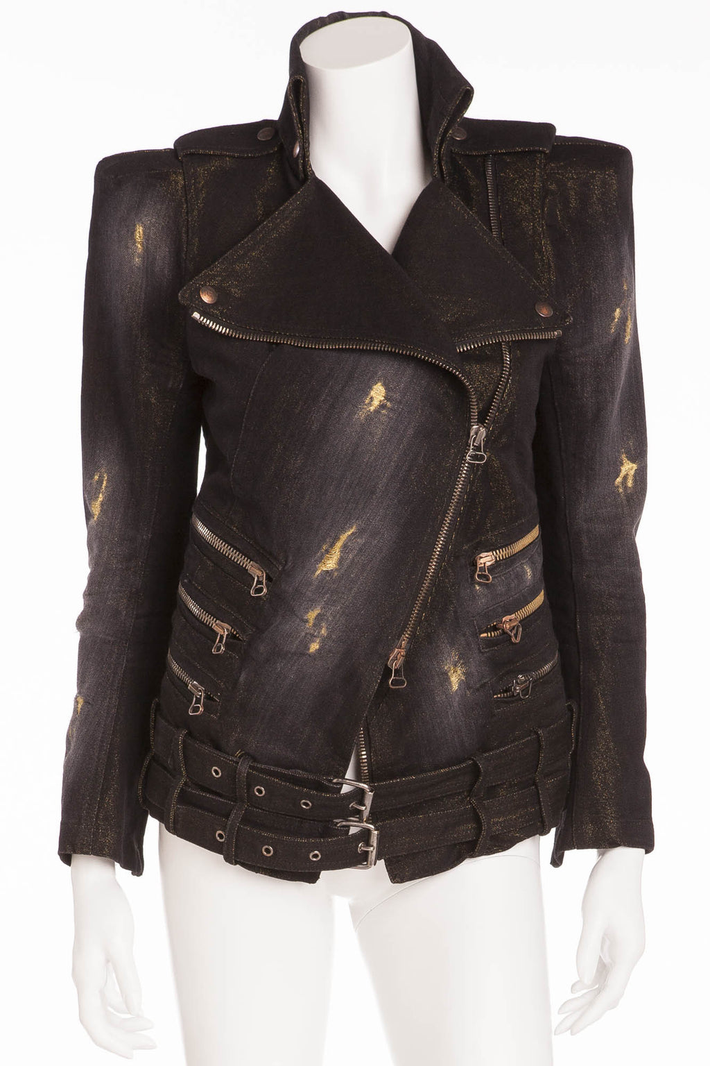 Balmain - Black Multi Zipper Denim Jacket - FR 40