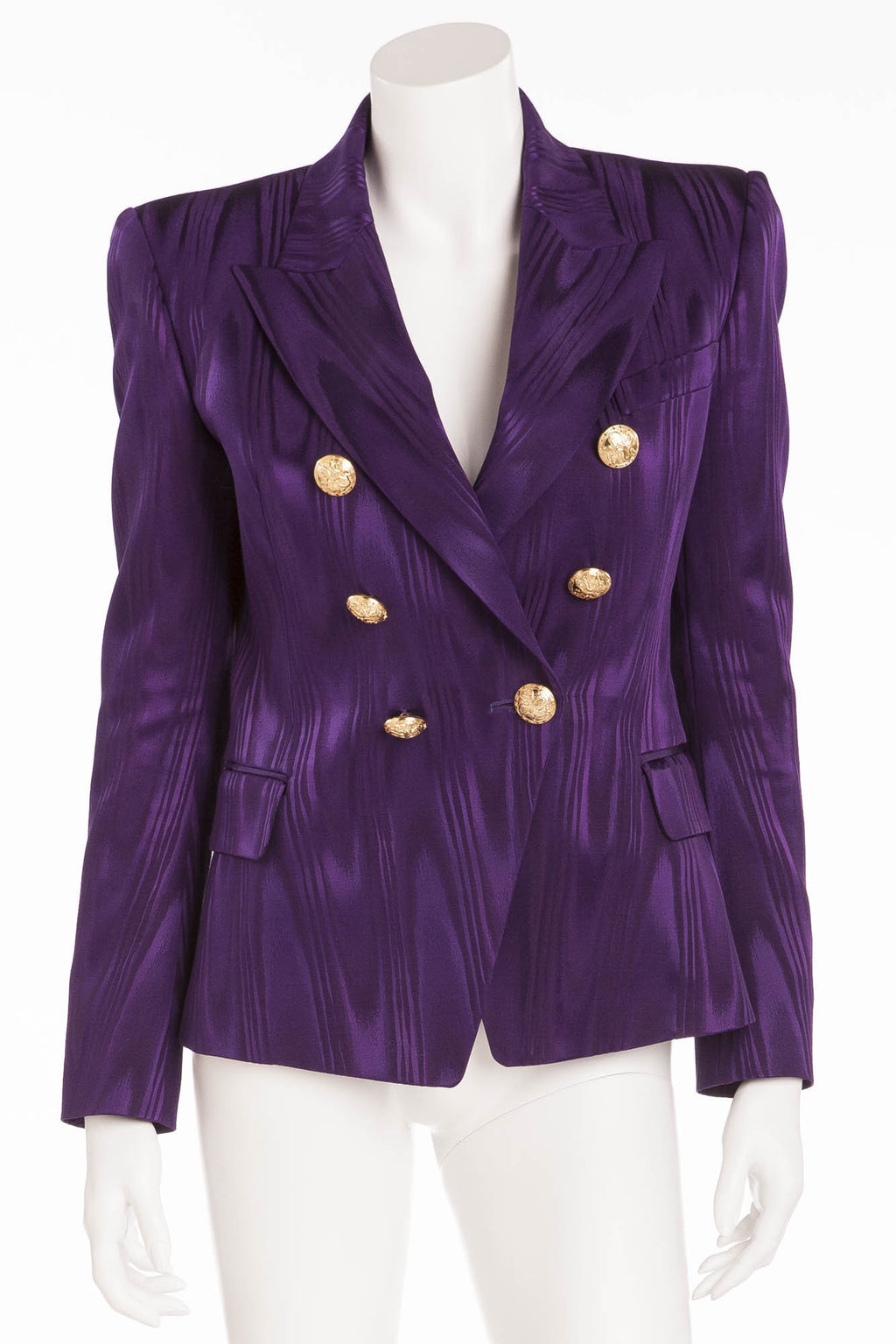 Balmain - Moire Effect Purple Striped Blazer Gold Buttons - FR 40