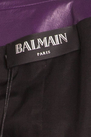 Balmain - Purple Leather Blazer Gold Buttons NWT - FR 40