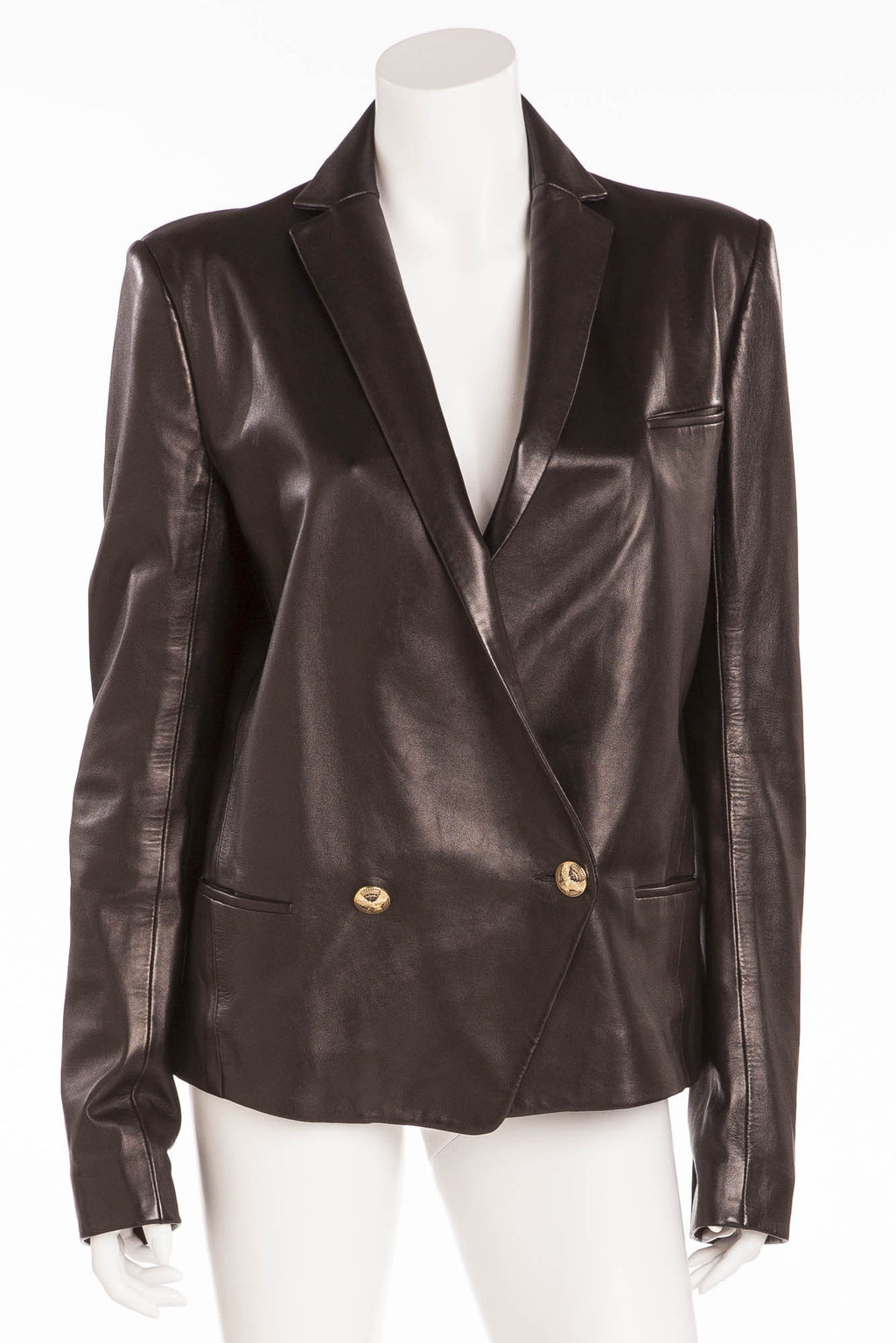 Balmain - Black Leather Blazer Gold Buttons - FR 42