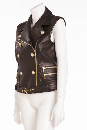 Balmain - Black Leather Vest Gold Zippers and Buttons - FR 40