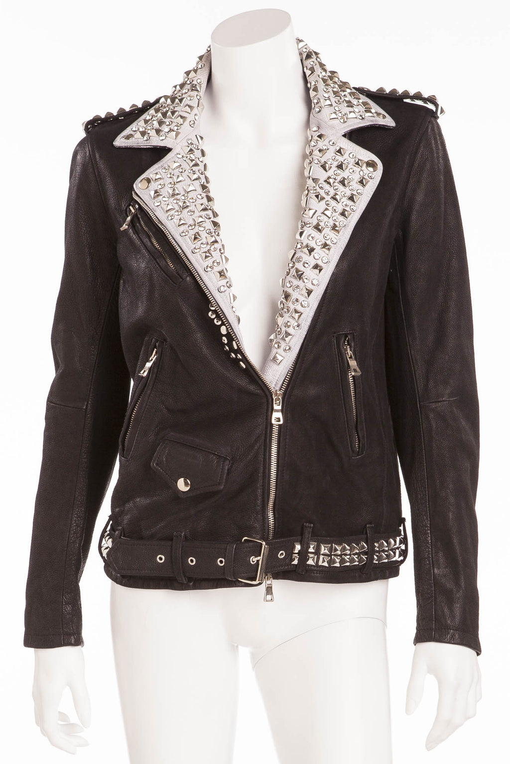 Balmain - Brand New with Tags Black Leather Jacket White Trim w/Silver Studs + Rhinestones - FR 40