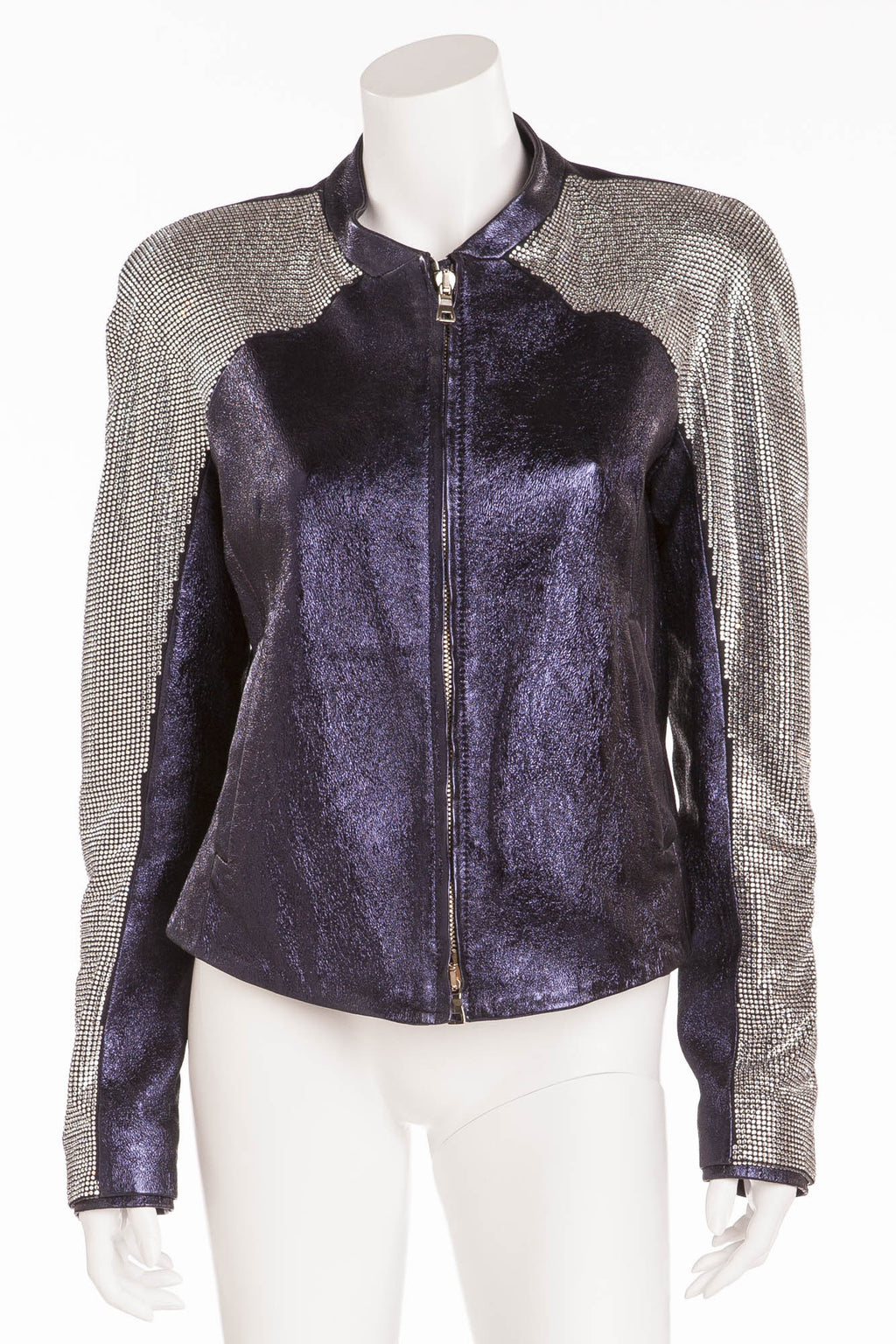 Balmain - Unique New with Tags Navy Blue Pearlescent Leather Jacket w/Rhinestone Arms - FR 40