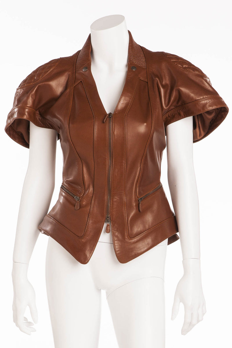 Original Alexander McQueen - Editorial, Tan Short Sleeve Peplum Leather Jacket - IT 40