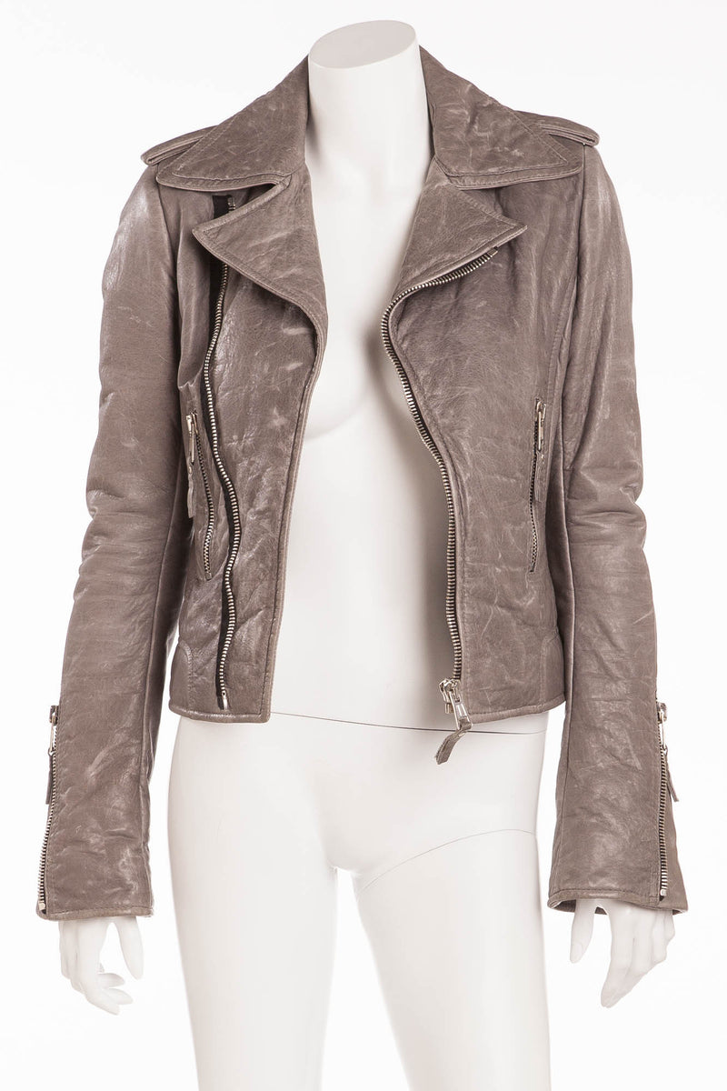 Balenciaga - New Light Gray Leather Motorcycle Jacket - FR 40