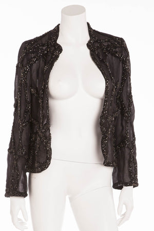 Original Alexander McQueen - Black Long Sleeve Beaded Jacket - IT 44