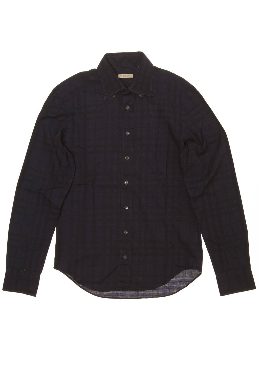 Burberry Brit - Dark Blue Checkered Long Sleeve Button Down -  Men's  size S