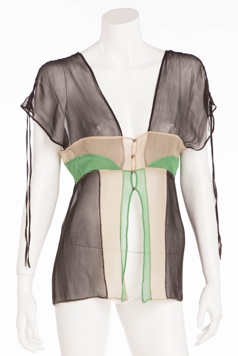 La Perla - Navy, Green, Tan Sheer Tank Top -
