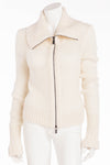Celine - White Knit Zip Up Sweater - M