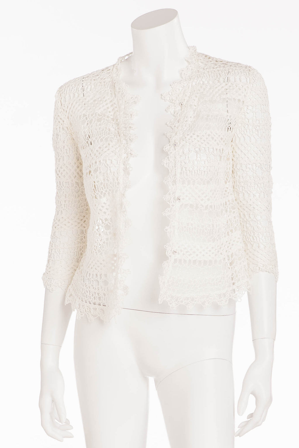 Valentino - White Crochet Lace 3/4 Sleeve Button Up Jacket - IT 42