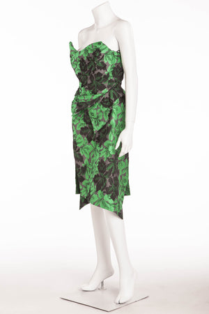 Vivienne Westwood Gold Label  - 2PC Asymmetrical Green Corset and Pencil Skirt - UK 12/ US 8