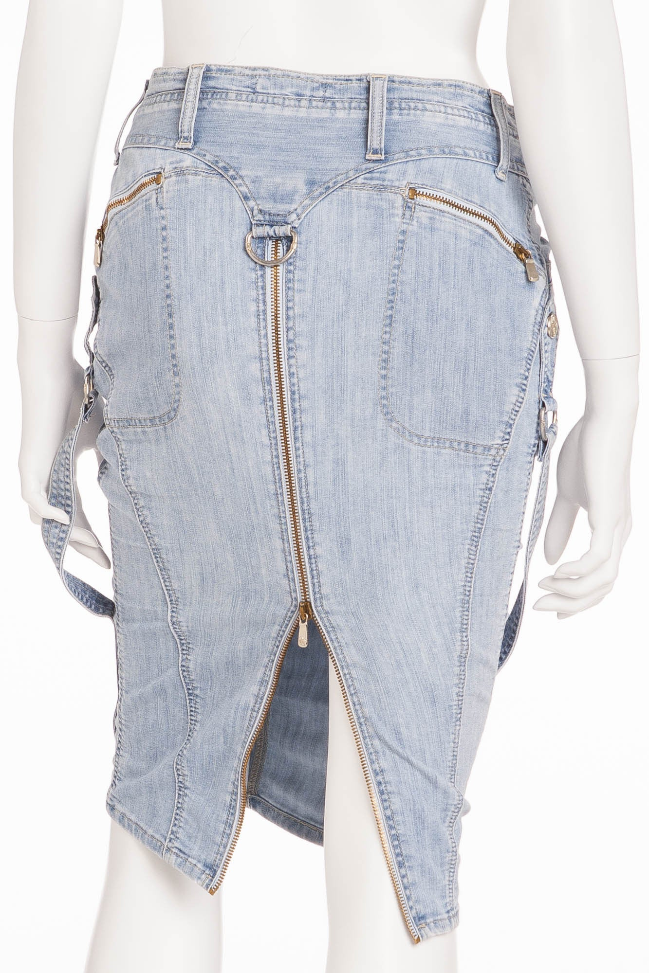 1d7f044f2 Versace - Denim Pencil Skirt with Zippers - – LUXHAVE