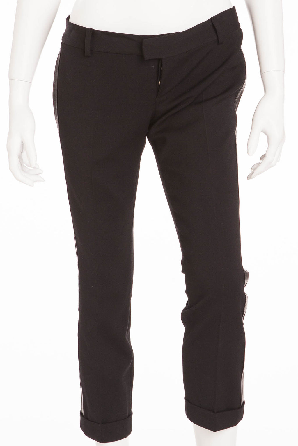 Dsquared2 - Black Pants with Leather Trim - IT 42