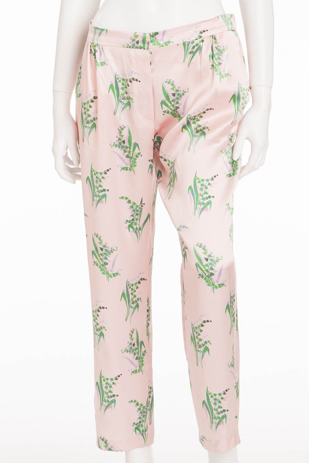 Nina Ricci - Pink Silk Pants with Lily of the Valley Print - FR 40