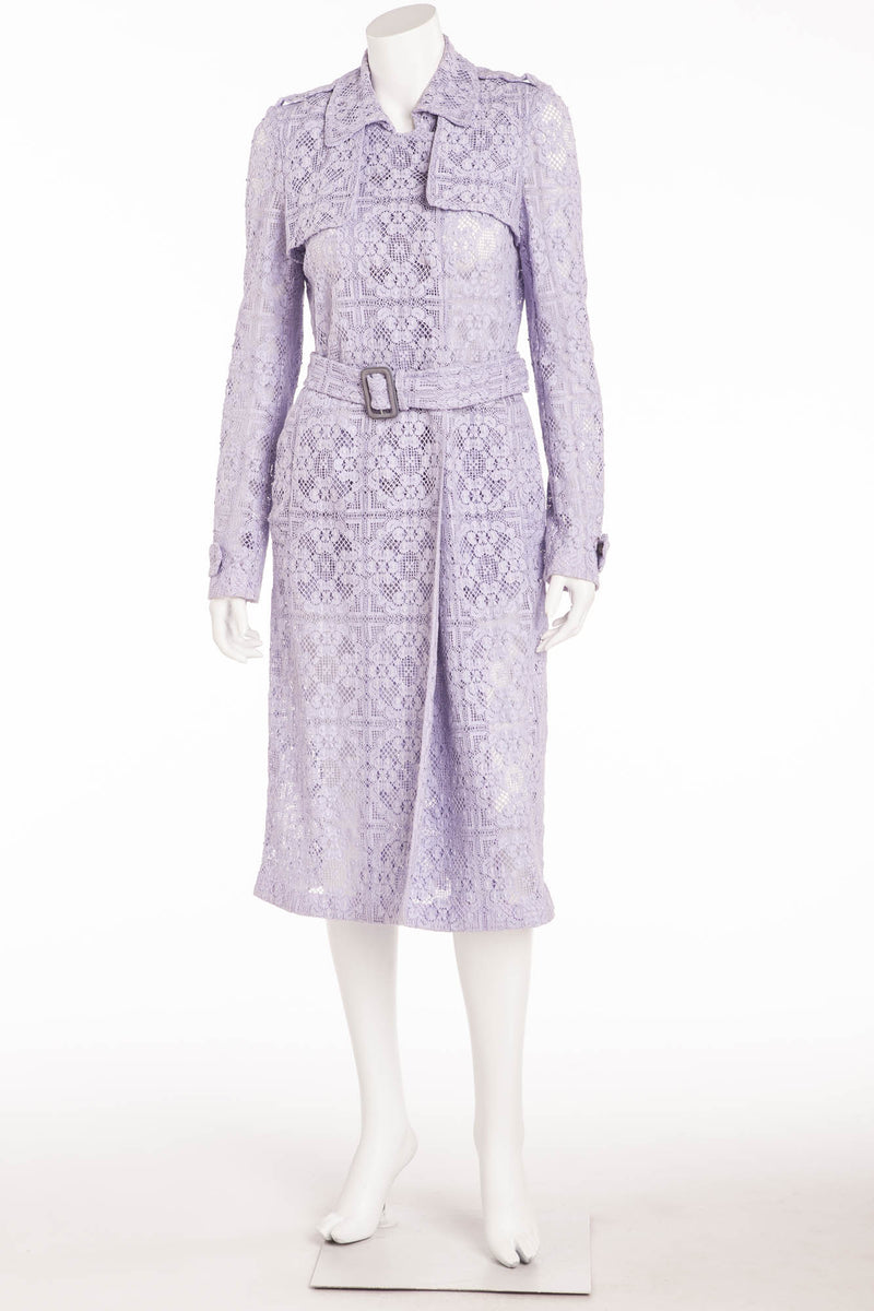Burberry Prorsum - Editorial Light Purple English Lace Trench Coat with Belt - IT 44