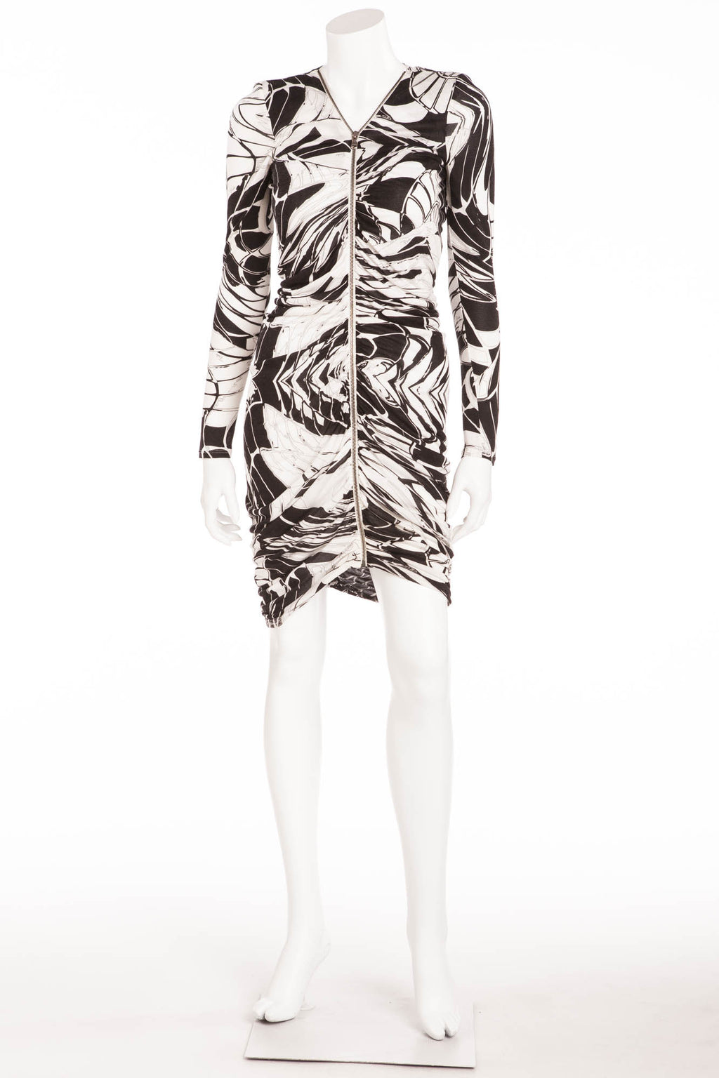 Emilio Pucci - Black & White Long Sleeve Zip Up Front Dress - IT 42