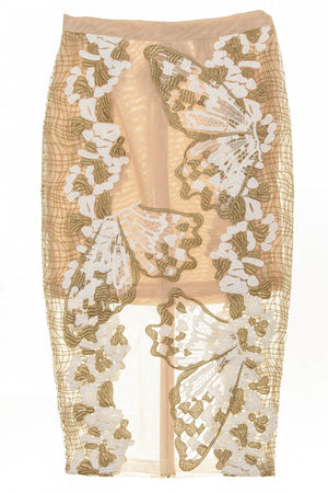 Blumarine - New With Tags 2PC Nude Top & Pencil Skirt with White & Gold Trim - IT 42