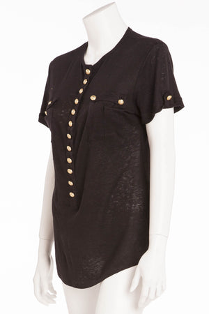 Balmain - Short Sleeve Black Top with Gold Buttons - FR 40