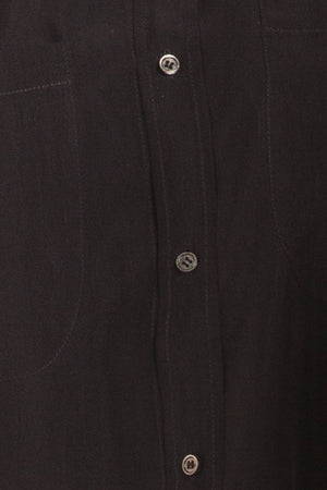 Balmain - Long Sleeve Black Button Up with Gold Trim on Shouders - FR 40