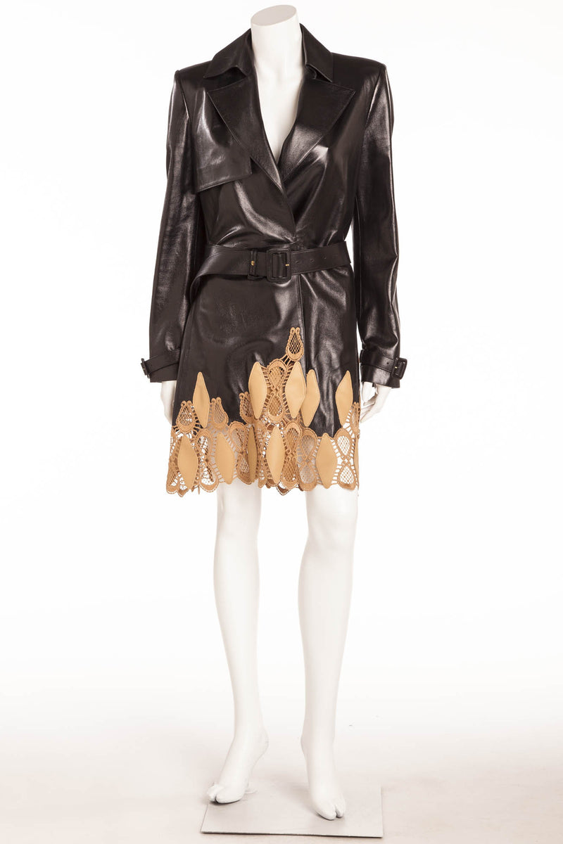 Versace - Black Leather Trench Nude Bottom Design  - IT 42