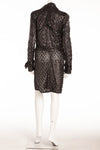 Roberto Cavalli - Black Long Sleeve Leather Coat Flower Design with Belt -