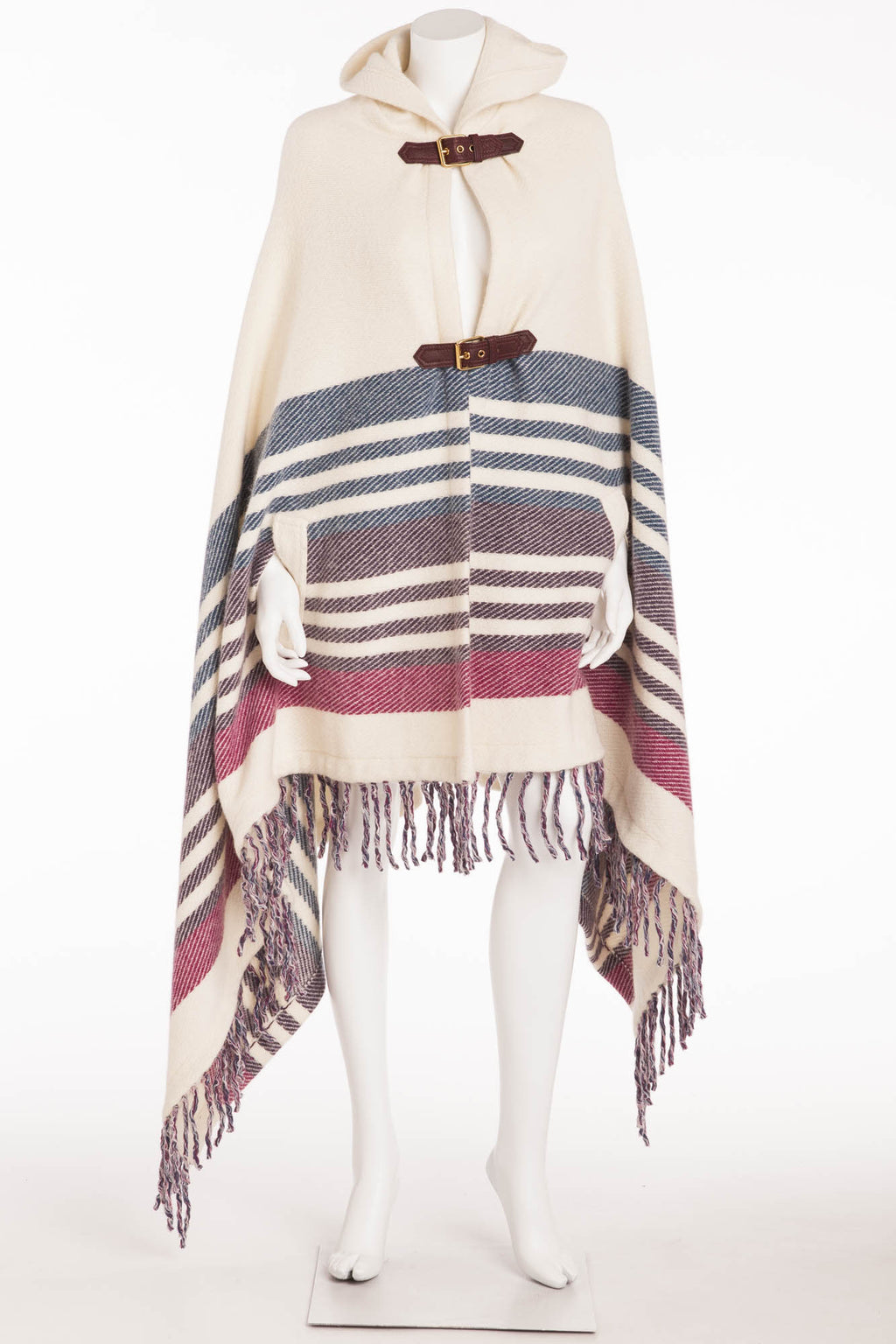 Emilio Pucci - White Blue Purple Pink Poncho Fringe Bottom with Leather Buckle  - M