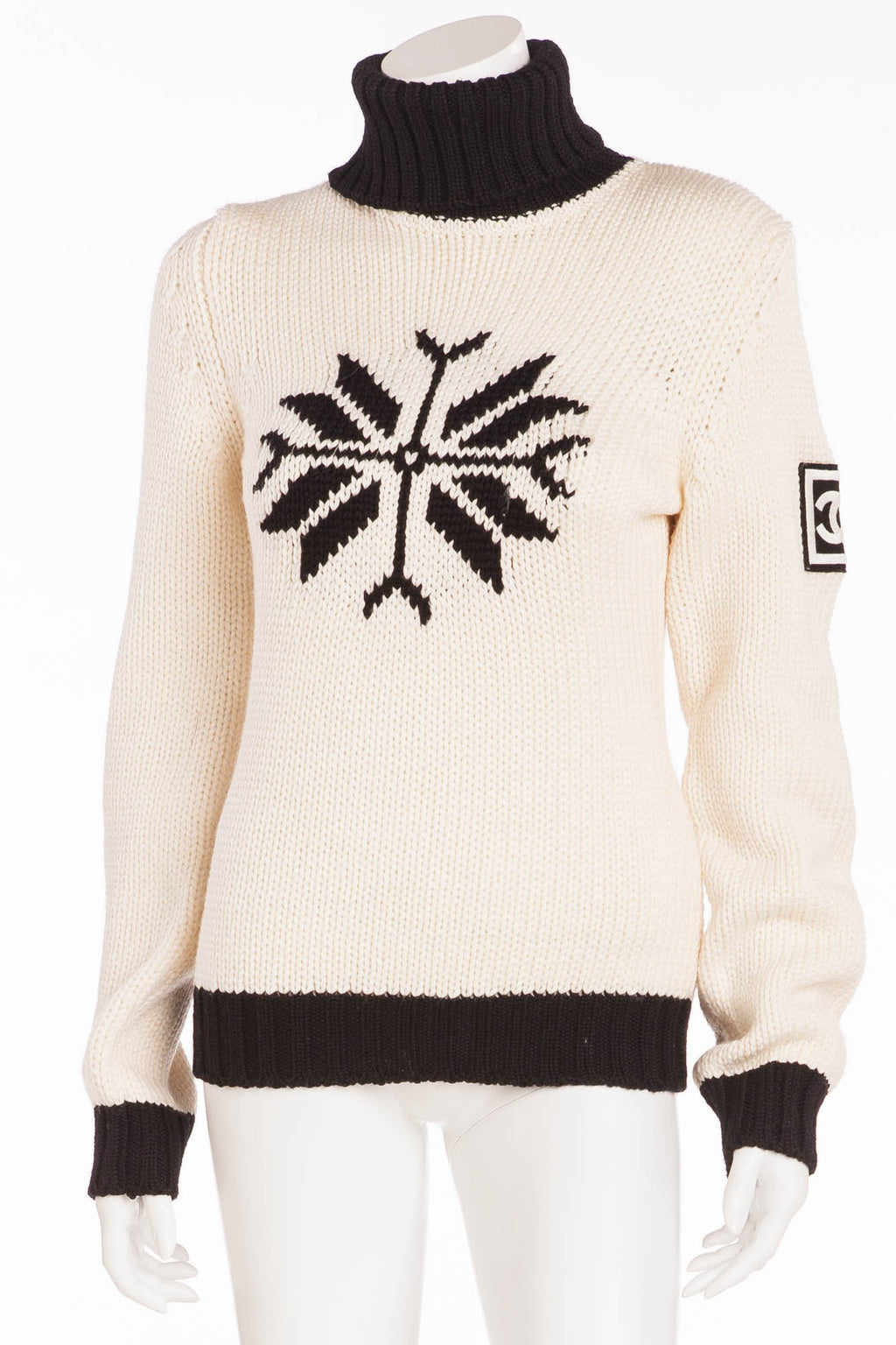Chanel - Knitted White & Black Ski Sweater - FR 40