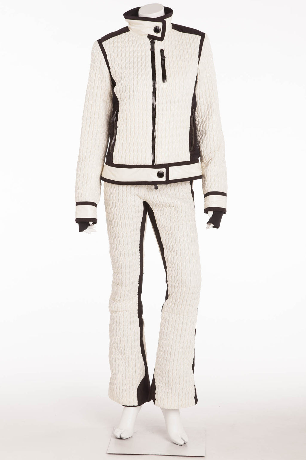 Moncler - 2PC White Puffy Sleeveless Jumpsuit & Jacket -IT 42