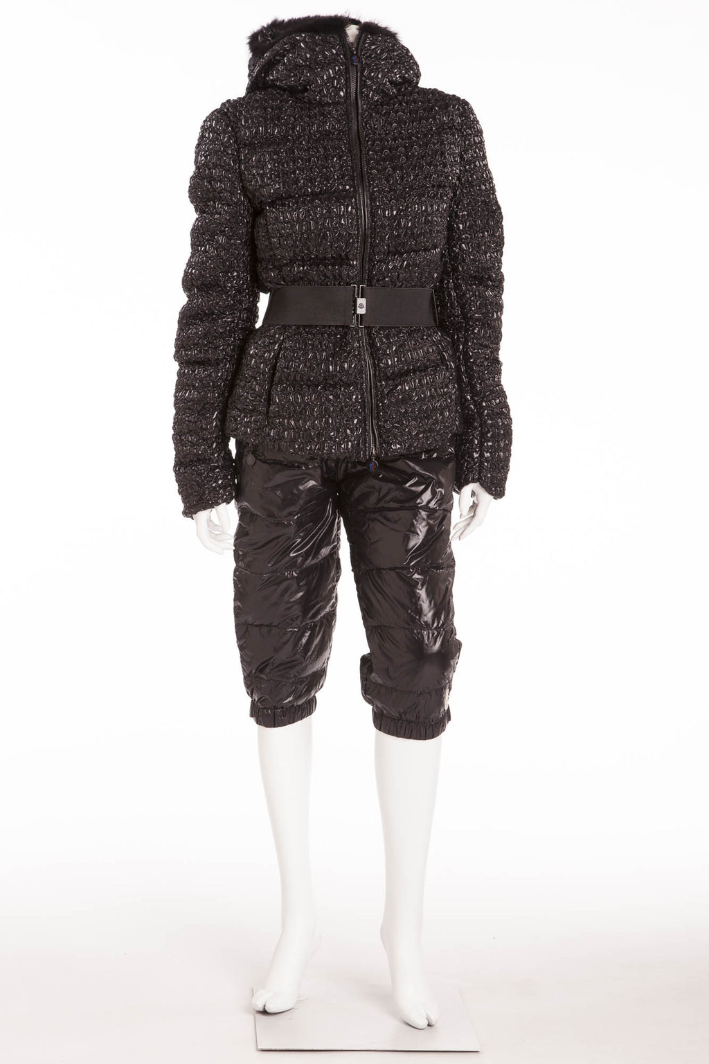 Moncler  - 3PC Black Puffy Jacket, Pants & Belt - 3 IT 42