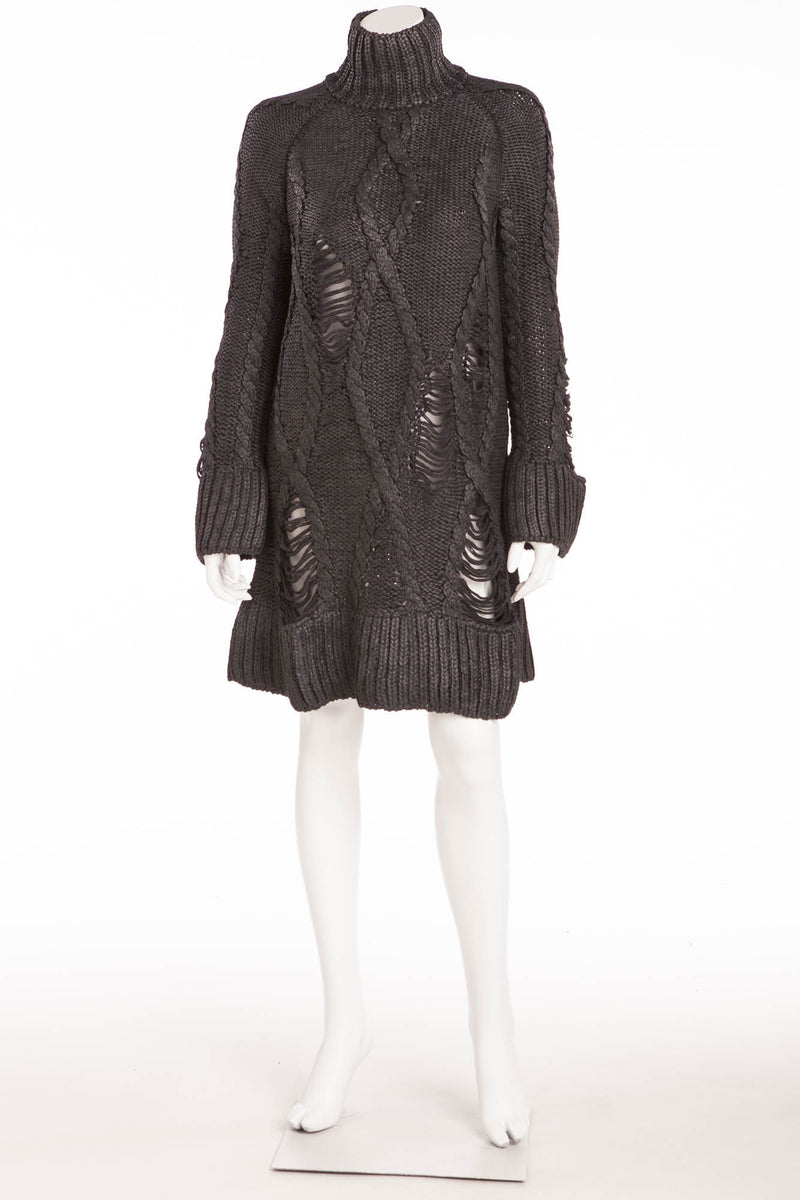 Original Alexander McQueen - As seen part of the 2009 Runway Collection, Look 4 - Dark Grey Long Sleeve Knitted Sweater Dress -