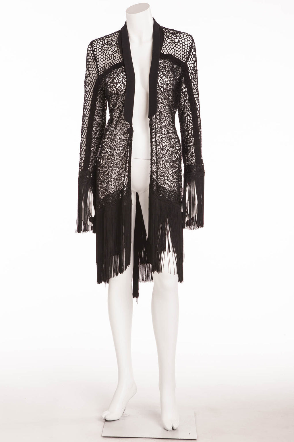 Ermanno Scervino - Black Knitted Long Cardigan with Fringe -IT 42