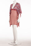 Missoni - Red, White and Light Blue Short Sleeve Zig Zag Crotched Knit Caftan -