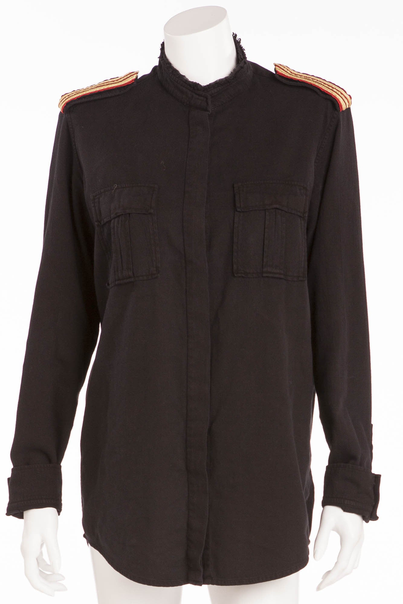 25c6b3b2fb5bf5 Balmain - Black Button Down Red and Gold Trimmed Shoulders - FR 40 – LUXHAVE