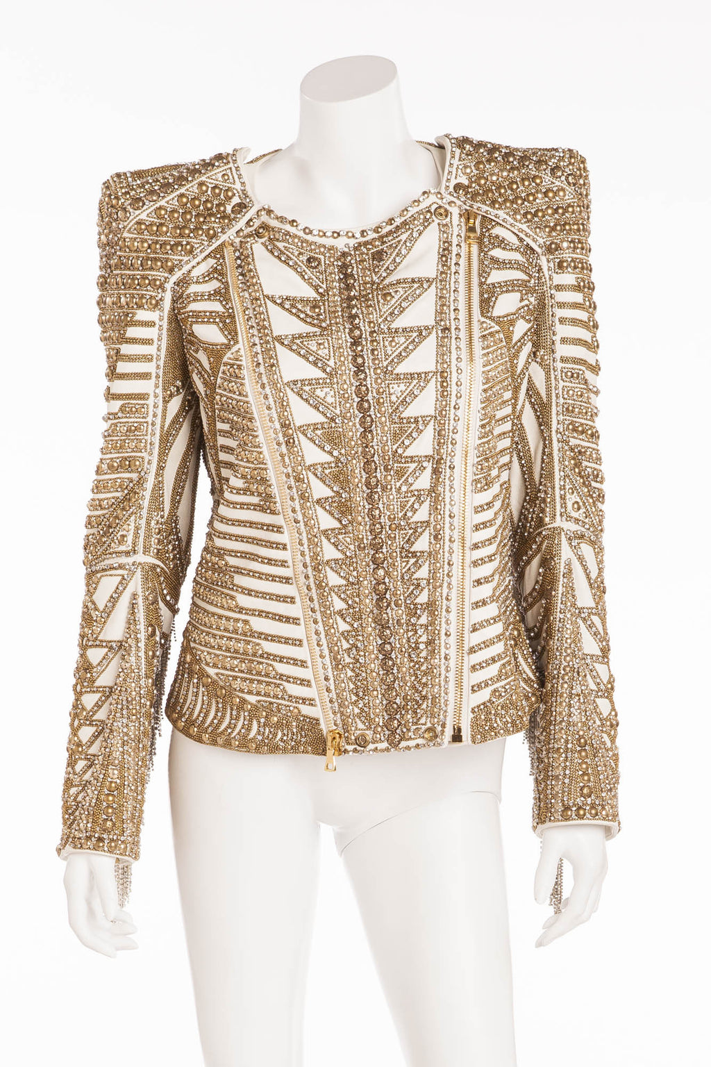 Balmain - Editorial Unique New With Tags White Leather Jacket with Gold Embellishments and Rhinestone Fringe - FR 42