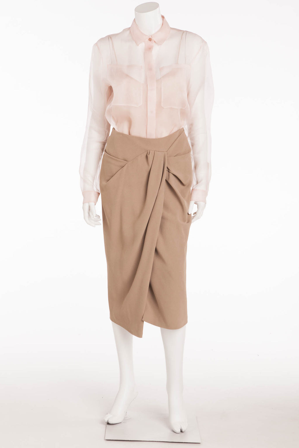 Burberry Prorsum - Brand New 2PC Sheer Pink Shirt Tank Top Nude Skirt - IT 42