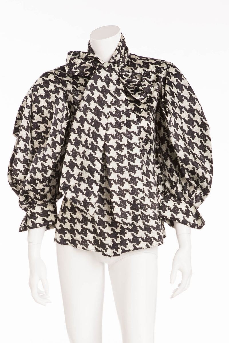 Original Alexander McQueen - Editorial Black & White Pattern Houndstooth Shirt Long Sleeve - IT 40