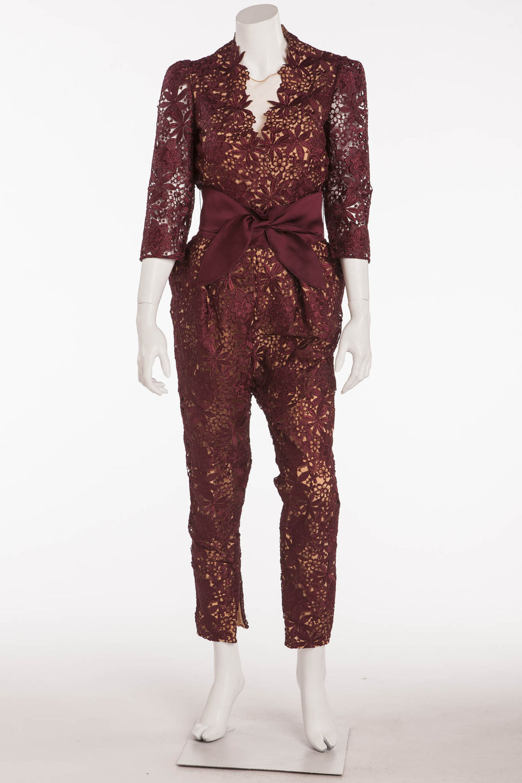 Stella McCartney - Burgundy Lace Jumpsuit with Belt -IT 42
