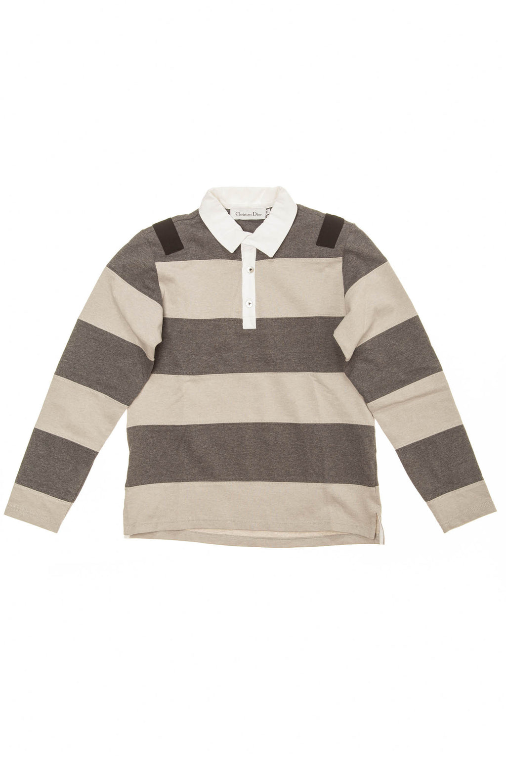Christian Dior - Long Sleeve Gray Striped Polo - 12A