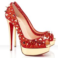 Christian Louboutin -Red/Gold Red/Gold Very Mix 150 Pot Pourri Retails Platforms  - IT 38 1/2